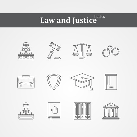 law symbol: black Law and justice icons  thin line set with a Judge briefcase book hammer jurors handcuffs scales hat lawyer court building icon police oath , design isolated on a white background