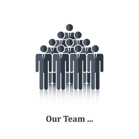 Black business people icon,sign,symbol,pictogram.Concept teamwork, business team,over white with text Our team,in flat stile