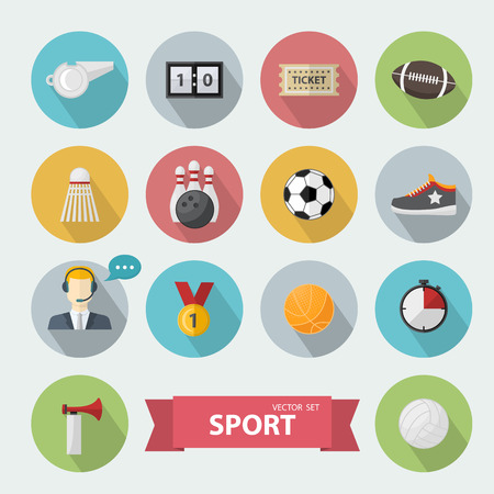 commentator: Sports icon,sign set, in flat style,with football,commentator,sport horn,bowling, basketball, volleyball ball,medal,scoreboard,whistle,badge,sneakers,ticket.Different sports equipment.Sports games