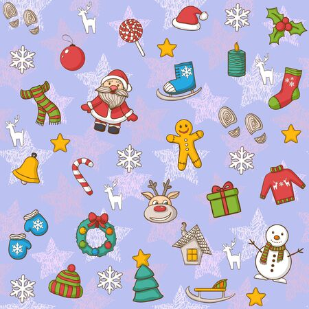 santa claus hats: Seamless Happy New Year and Merry Christmas pattern,with Santa Claus,snowman,Christmas tree,candy, house, ice skates,snowflake,gift, candle, Christmas wreath, Christmas toys.Hand Drawn Illustration