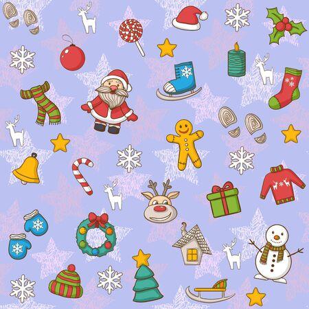 casita de dulces: Sin fisuras Feliz A�o Nuevo y el patr�n Feliz Navidad, con Santa Claus, mu�eco de nieve, �rbol de navidad, caramelo, casa, patines de hielo, copo de nieve, regalo, vela, corona de Navidad, Navidad toys.Hand Drawn