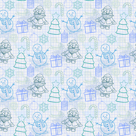 ice sheet: seamless Happy New Year and Merry Christmas pattern on the notebook sheet into the cell with Santa Claus,snowman, Christmas tree, ice skates,gift, candle, Christmas toys, candy,snowflake