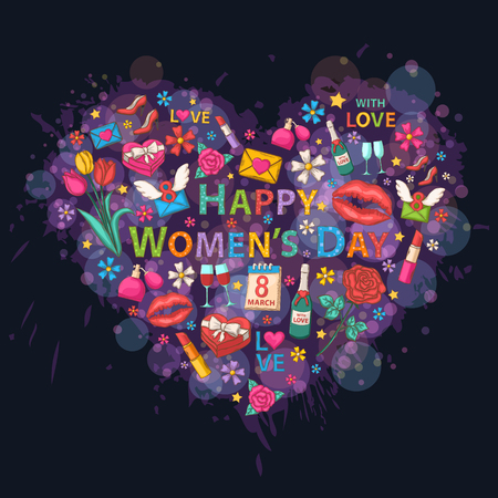 calendar day: Big Heart on the background of colorful blots, inks,themed design with  flowers,perfume,a glass of wine,lipstick,ribbon,heart,email,march in the shape of heart with text Happy Womens Day