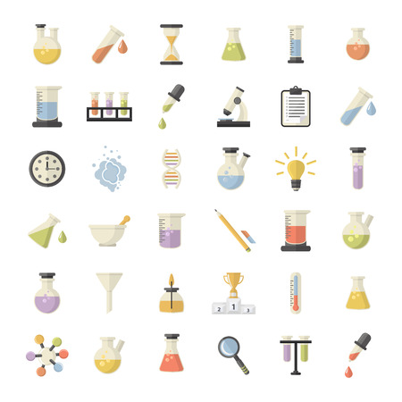 Science and Research big icons set.Chemistry industry icons.Science and research icons for learning and web applications .Flat design
