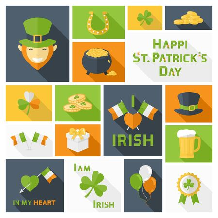 leafed: Saint Patricks Day icons,sign,symbol,pictogram set for web,illustrations and design elements in flat style with ling shadow