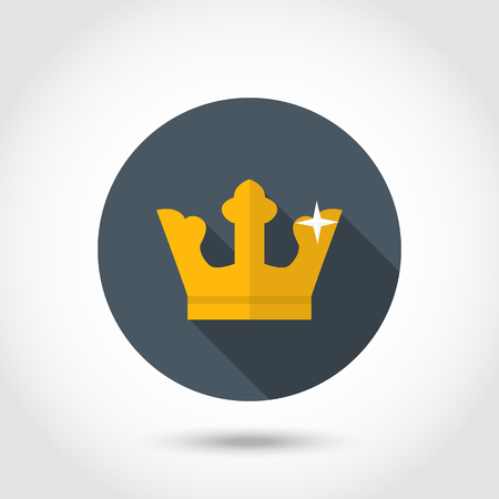aristocracy: Gold crown icon with long shadow isolated on a circle in flat style. Illustration