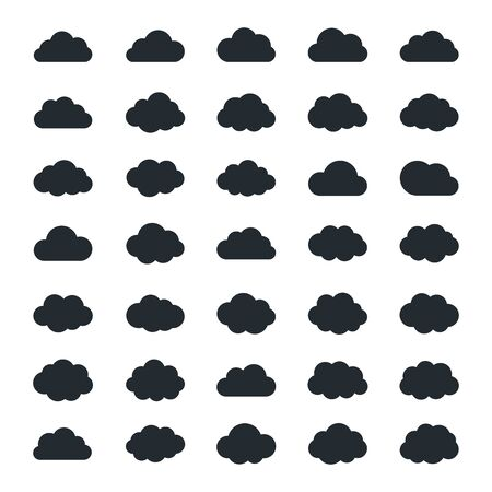 simplus: Vector very big set of thirty-five black cloud  shapes, cloud icons for web and app, for cloud computing and so on isolated on a white backgroud in flat style