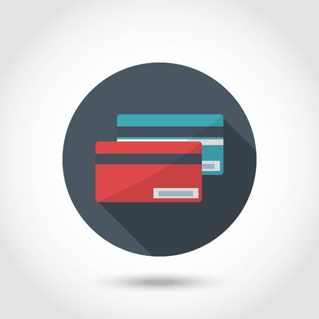 commercial painting: Flat modern style vector designCredit Card Icon red and blue.Concept for web banners and printed materials.With long shadow isolated on a circle