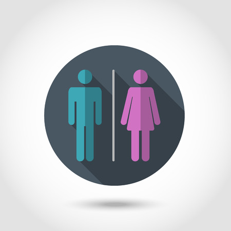 denoting: Vector Flat modern style vector design icon Male and female WC icon denoting toilet and restroom facilities for both men and women with blue and pink male and female silhouetted figures.Long shadow