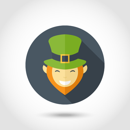 leprechaun hat: Vector Leprechaun smiling face icon,sign,symbol,pictogram with green hat  and red beard in flat style with long shadow isolated on a circle Illustration