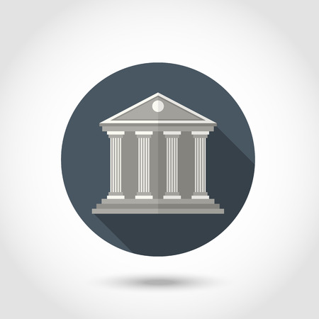 column icon: Vector Bank or courthouse building ,sign,symbol,pictogram in flat style with long shadow isolated on a circle.Concept for web banners and printed materials
