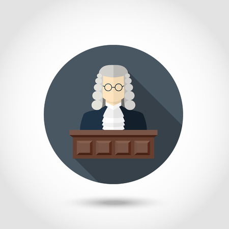 counsel: Vector Judge  icon,sign,symbol,pictogram in flat style with long shadow isolated on a circle.Concept for web banners and printed materials