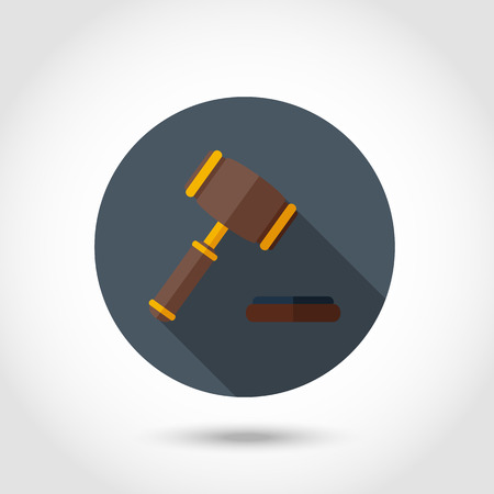 auctioneer: Vector jurge gavel,hammer of judge or auctioneer modern icon,sign,symbol,pictogram in flat style with long shadow isolated on a circle.Concept for web banners and printed materials