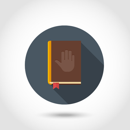 writ: Vector Hand silhouette on a Bible,To swear on the Bible,modern icon,sign,symbol,pictogram design in flat style with long shadow isolated on a circle.Concept for web banners and printed materials