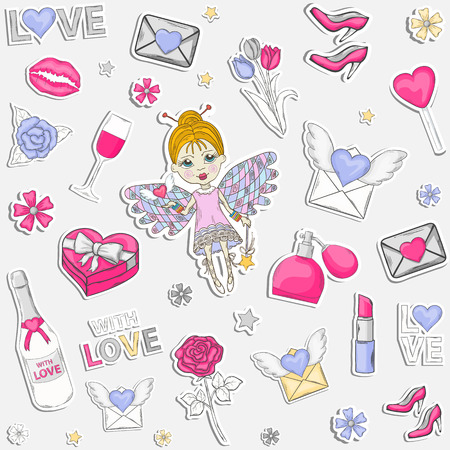 poster art: With love,seamless pattern or set,clip art.With a box of chocolates with a  pink,perfume,text,lipstick,hearts, flowers, womens high heel shoes,champagne,wine,glasses,elf,wings,love,lips imprint