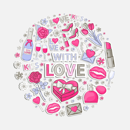 wine gift: With love sticker clip art setin the form of a circle.With shadow on a white background.Hand Drawn.Scrapbook.Sticker.With letter,perfume,text,lipstick,hearts,womens shoes,champagne,glasses,email,love