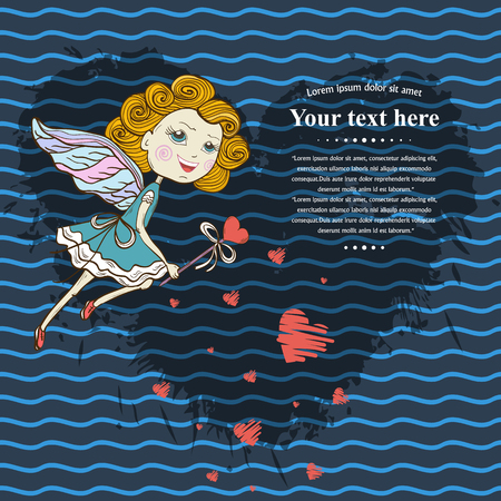 textspace: Vector Card for your design  text ,messages,treatment,copyspace ,textspace with  flying cute fairy with a magic wand,red hearts on a shadow from blots ink heart shape