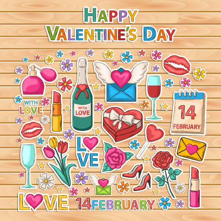flower designs: Happy Valentines day clip art set.Scrapbook set.Sticker.Themed design with letter,perfume,text,lipstick,hearts,flowers,womens high heel shoes,champagne,wine,glasses,email,love,lips imprint