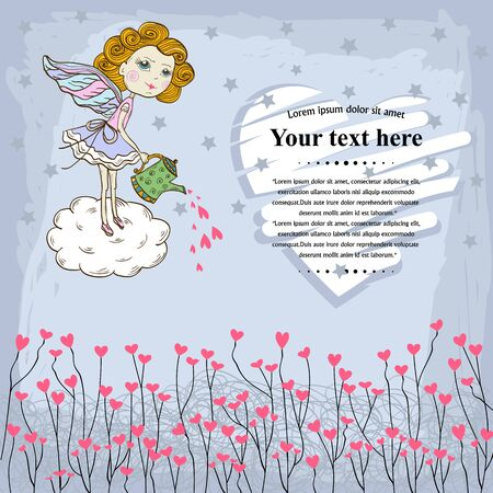 textspace: Vector Card for your design messages,text,copyspace,textspace with  flying in the sky cute fairy watering the text Happy Valentines Day of love heart,pink hearts on a blue background with stars.Banner Illustration