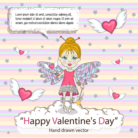 textspace: St. Valentines Day card for your design messages,text,treatment,copyspace,textspace talking bubble Cute little fairy standing on a cloud with flying around pink hearts on a striped background Banner
