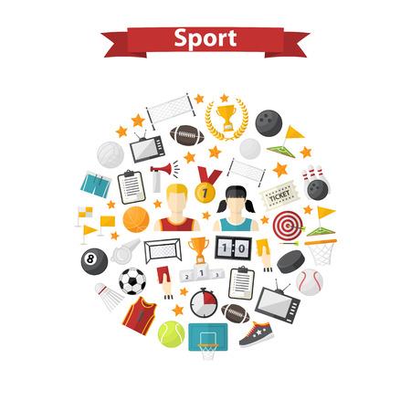 icono deportes: deportivo icono del vector, signo, símbolo, pictograma conjunto, la colección de estilo plano aislado en un círculo, con el cuerno del deporte, balón de fútbol, ??copa, marcador, silbato, insignia, zapatillas de deporte, Diferentes juegos equipment.Sports