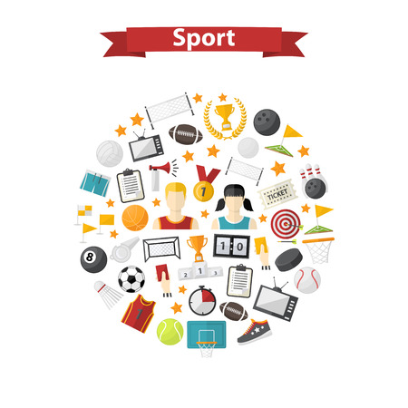 Vector sports icon,sign,symbol,pictogram set,collection in flat style isolated on a circle , with sport horn,soccer ball,cup,scoreboard,whistle,badge,sneakers,Different equipment.Sports games Illustration