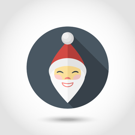 red beard: Vector Santa Claus smiling face icon,sign,symbol,pictogram with red hat  and red beard in flat style with long shadow isolated on a circle.Happy New Year. Merry Christmas