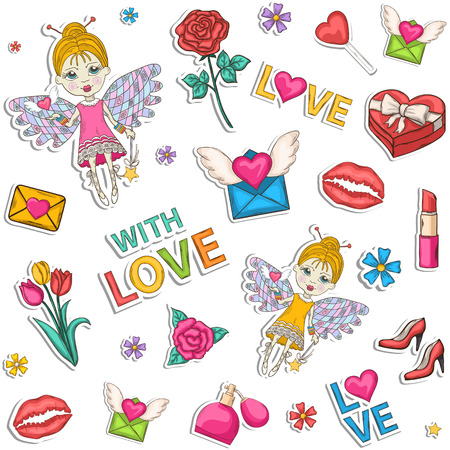 poster art: Seamless colored pattern,set,clip art.With a box of chocolates with a bow, pink, blue,perfume, text, lipstick, hearts, flowers, womens high heel shoes, champagne, wine, glasses, elf, wings, love Illustration