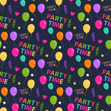 Vector Seamless Party patttern with colored ballons confetti heart star text Party time on a dark backgraund