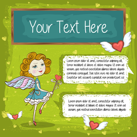 textspace: Vector dancing Funny Cute Little Fairy,flying pink hearts with wings,chalk board and talking bubble for your messages,treatment,text on a green background Happy Valentines Day Hand Drawing Vector Card Illustration