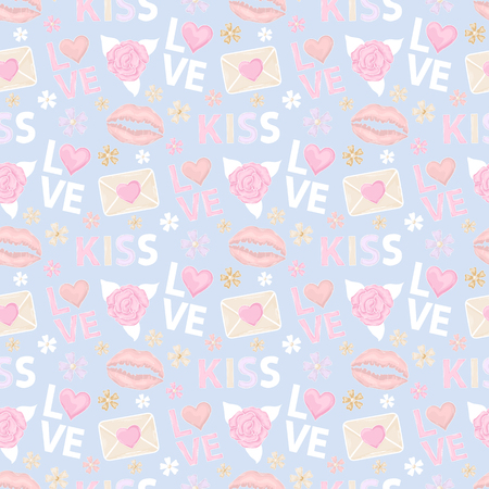 love rose: Vector Seamless Pattern with rose,letter, message, email, mail with heart,text kiss and love,lips imprint   icon isolated on a a blue backgraund for site wab page womens blog.Happy Valentines day Illustration