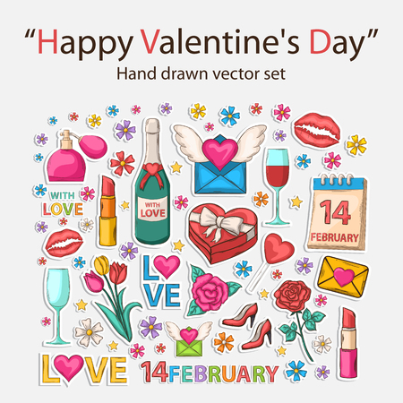 pink flower: Happy Valentines Day clip art with shadow,isolated on a white background.Hand Drawn.Scrapbook.Sticker.With letter,perfume,text,lipstick,hearts,flowers,womens shoes,champagne,glasses,email,love