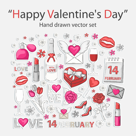 flower concept: Happy Valentines Day Sticer set with shadow in pink,white and red tones,isolated on a white background.Hand Drawn clip art.Holiday collection