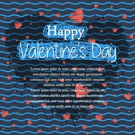 textspace: Abstract background  with red heart and text for web page site.Happy Valentines Day.Holiday background,copyspace ,textspace. Illustration