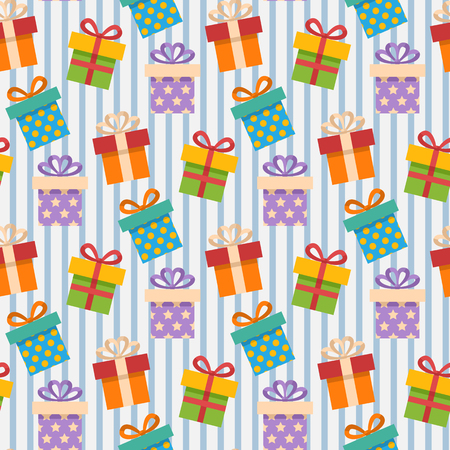retro cartoon: Vector Seamless Gift box pattern with blue strip
