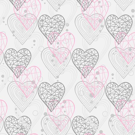 corazon: Seamless pattern with abstract hearts for web page site.Happy Valentines Day.Holiday background or site wab page woman blog Illustration