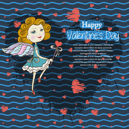 gree: Card for your design  text ,messages,treatment,copyspace,textspace Happy Valentines Day with  dancing cute fairy with a magic wand,red hearts on a shadow from blots ink heart shape on blue background