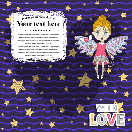 textspace: Vector Card for your design messages,text,treatment with  flying in the night sky cute fairy with magic wand ,pink hearts on a purple background with yellow stars.Banner design text with love sticker Illustration