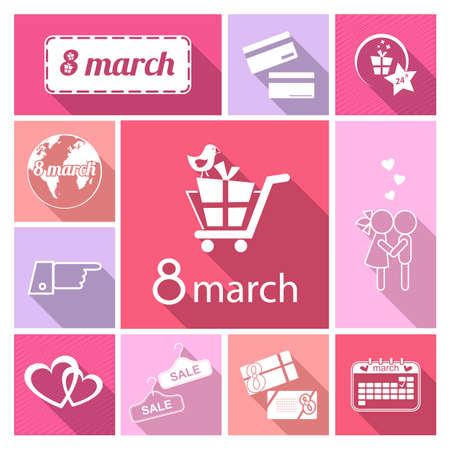 woman credit card: Vector White flat icon set with shadow.Womens day.Eighth march
