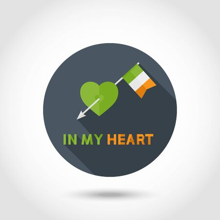 green heart: Vector Modern Arrow with Ireland Flag in green Heart sign,symbol,icon with text In my Heart in flat style isolated on a circle .St. Patrick Day