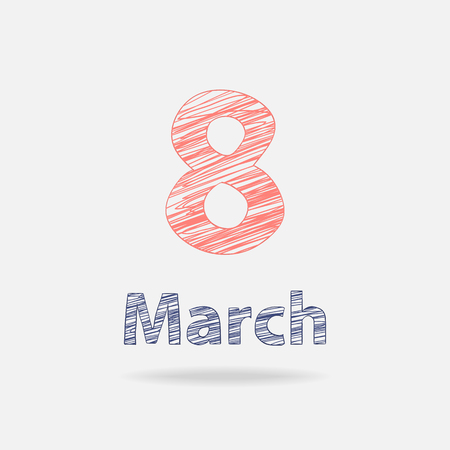 eighth: Eighth march text in doodle style with shadow