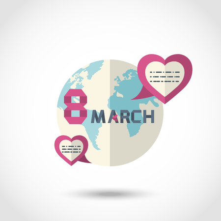 eighth: Vector Modern round the earth sign, as seen from space with hearts for your text congratulations Eighth of March, International Womens Day Illustration