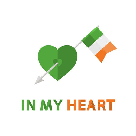 green heart: Vector Modern Arrow with Ireland Flag in green Heart sign,symbol,icon with text In my Heart in flat style isolated on a white background .St. Patrick Day