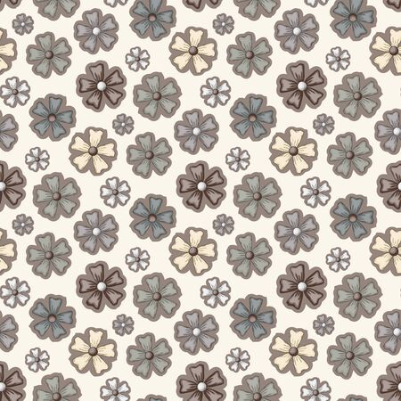 brawn: Vector seamless abstract flower pattern in brawn color tone.Doodle style
