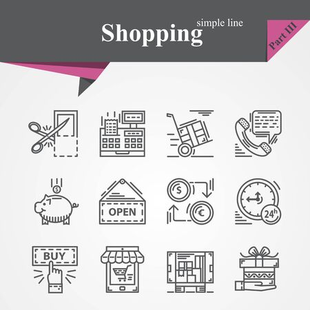 money time: Trendy Modern Shopping  simple thin line icons set with online payment,online shopping,hand with gift,product delivery,customer support,money,time,coupon etc. Illustration
