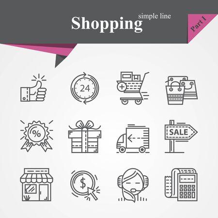 icônes de lignes minces simples définies sur le thème du shopping avec paiement en ligne, achats en ligne, cadeau, la livraison des produits, soutien à la clientèle, etc. Pour les concepteurs et developers.Outline collection d'icônes pour graphique web