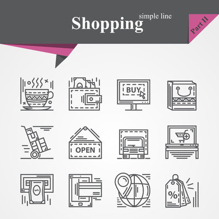 payment: Simple thin line icons set on the topic of shopping with online payment,online shopping,gift,product delivery,customer support etc.For designers and developers