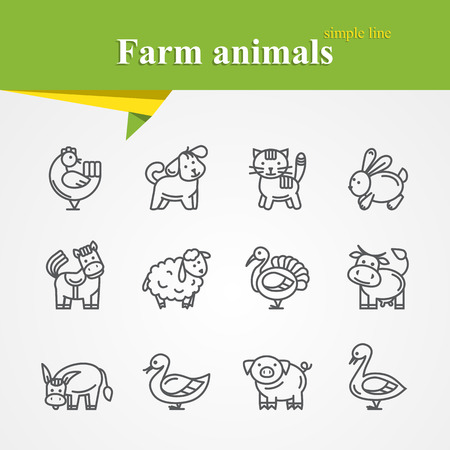 Simple thin line Farm animals icons set with cat,rabbit,turkey,duck,goose,dog,chicken,horse,lamb,turkey,donkey,pig
