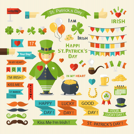 gold banner: Happy St. Patricks Day  big set in flat style.Ribbon,garland,heart,flag,hand,text,shamrock,clover,leprechaun,pot of gold,smoking pipe,different mustaches,calendar.Celebration.Holiday