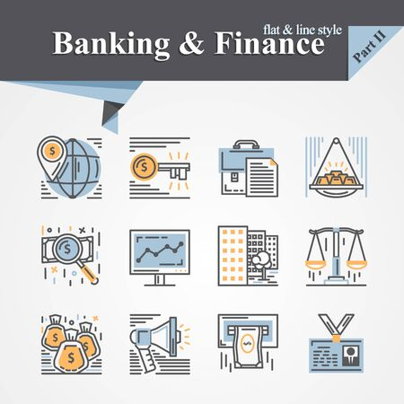 developers: Trendy flat and line Banking and Finance icons,internet payment security,key,online,mobile service,savings,precious metals,internet payment security,savings,cash For apps,web,developers,designers Illustration